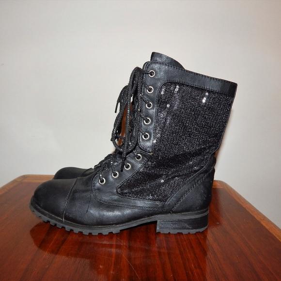 6b498e082cbb Gia-Mia Shoes | Giamia Sequin Black Combat Boots Size 7 | Poshmark